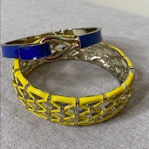 Two Hinged Enameled Bracelets